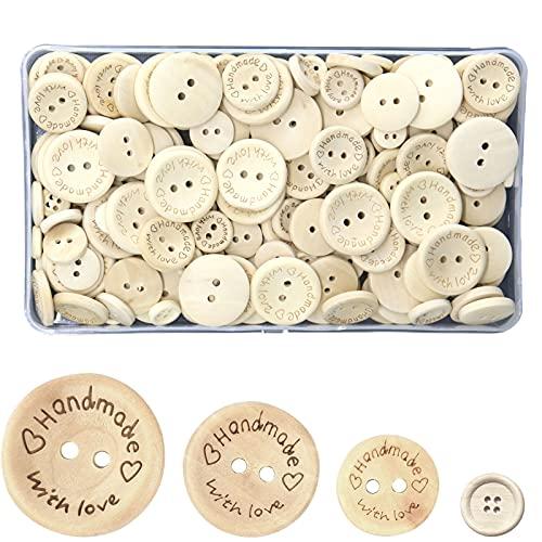 Botones Costura de Madera,Botones de Madera para Tejer Coser Manualidades,Forma Redonda Botones de Madera,Botones Redondos Botón para Niños Scrapbooking Artesanía DIY Decoración (A)
