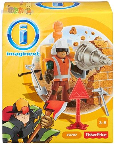 Fisher Price Spielzeug - Imaginext City Rescue Bauarbeiter Figur mit Riesenbohrer Spielset