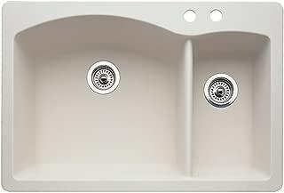 Blanco 440201-2 Diamond 2-Hole Double-Basin Drop-In or Undermount Granite Kitchen Sink, Biscuit