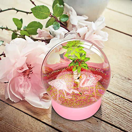 Mifxion Snow Globe, Pink Flamingo Snow Globe with Snowflakes Glitter Snow Globe for Kids, Christmas Snow Globe with Tropical Tree 100M