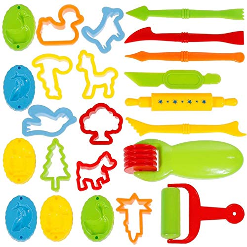 Faburo 23 pcs Play Dough Tools Set Dough Clay Cutters kit with Molds, Plastic Art Clay For Children Ages 3+