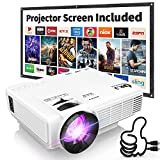 DR. J Professional HI-04 1080P Supported Portable Movie Projector, 3600L Mini Projector with 100Inch Projector Screen, Compatible with TV Stick, Video Games, HDMI,USB,TF,VGA,AUX,AV (Latest Upgrade)