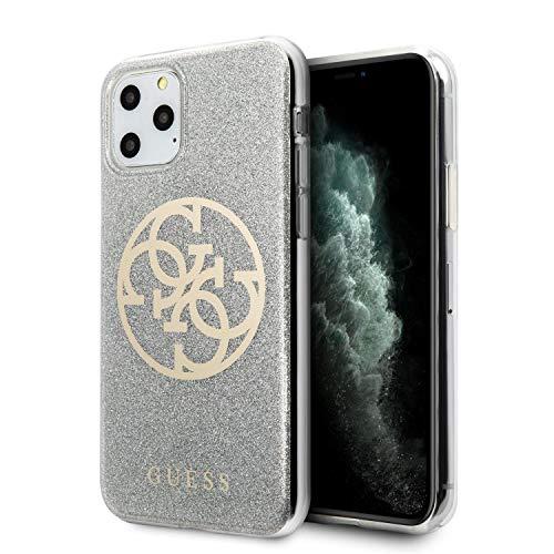 CG Mobile Guess TPU/PC Hartschale für iPhone 11 Pro Handy Cover 4G Glitzer Kreis Hellgrau Stoßdämpfung Handyhülle Offiziell lizenziert