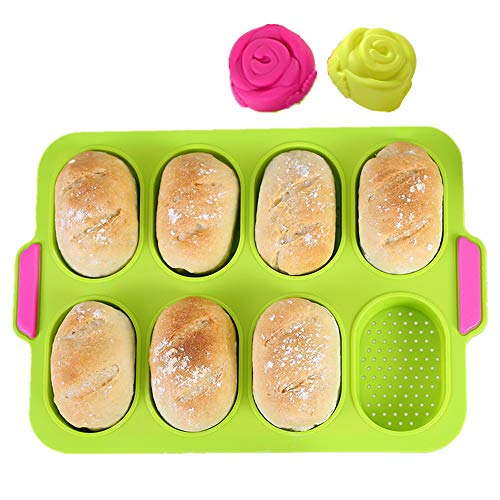 KeepingcooX Mini Baguette Baking Tray 11 x 95 In Nonstick Perforated Pan  Bread Crisping Tray Loaf Baking Mould Frenchbread Breadstick and Bread Rolls with Delicious Crispy Crusts Green
