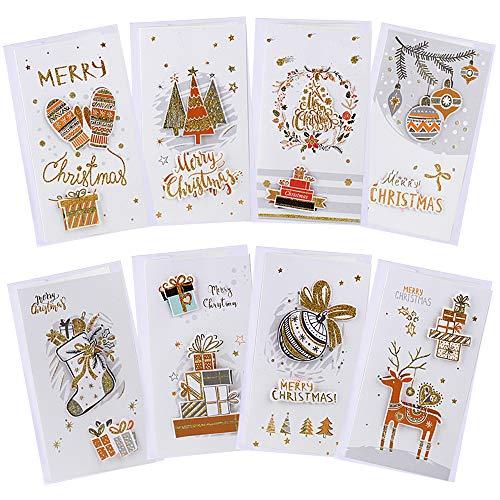 8種16枚入 クリスマスカード 封筒付き 3Dカバー効果 メッセージカード クリスマス 21.5*12cm ギフトカード 絵本のような絵柄 2つ折り (8種16枚入)