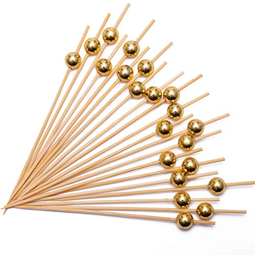 Bamboo Toothpicks Gold Pearl
