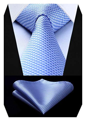 HISDERN Cravatte uomo Azzurro e bianco da matrimonio e Fazzoletto Cravatte fantasia plaid elegante classica business cravatta set
