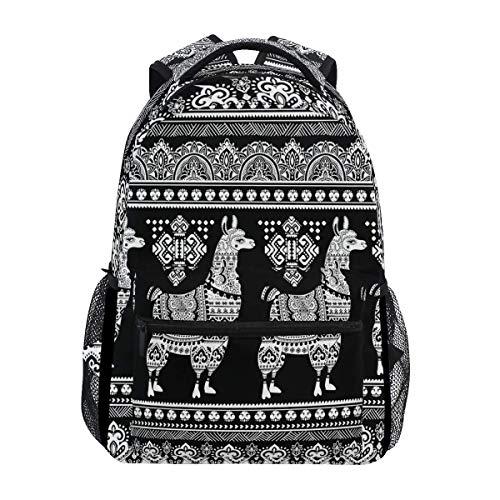Schwarzweiss-Lama-Alpaka-Jungen-Mädchen-Schulcomputer-Rucksack-Buch-Beutel-Reise, die kampierenden Daypack wandert