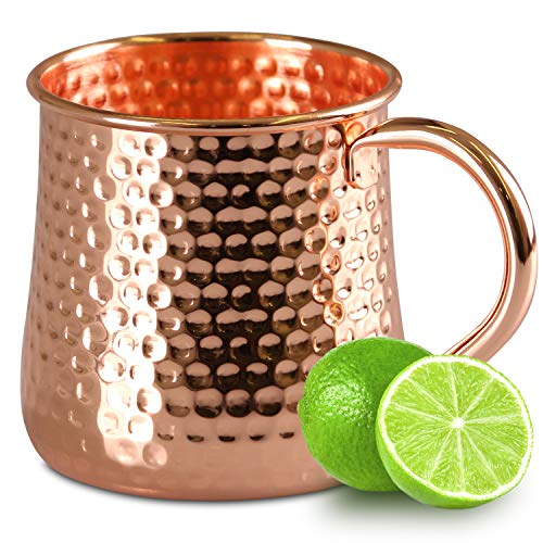 Moscow Mule Mugs - HANDCRAFTED Food Grade Stainless Steel Copper Plated Mugs - Smooth Finish No Inside Liner Cups 18oz