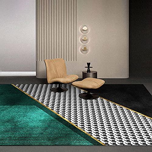 AU-OZNER lounge tapijt Geel slaapkamer tapijt, casual baby kruipen vluchtige vacuüm anti-mijt tapijt geometrische patroon meisjes kamer tapijt -yellow_160x200cm
