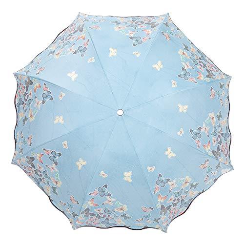 iLoveDeco Farbwechsel Regenschirm Taschenschirm(Schmetterlingsmuster), 8 verstärkten Rippen, kompakte Winddichte Leicht Sonnenschirm Regenschirm mit Anti-UV-Schutz Farbwechsel bei Regen