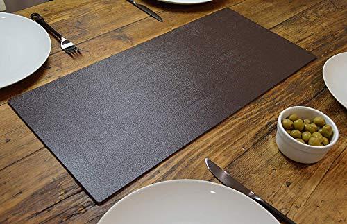 Artisan bruin bonded lederen tafelloper mat eetkamer, 60cm x 27cm, met de hand gemaakt in het Verenigd Koninkrijk