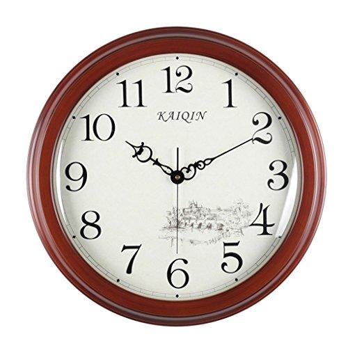 horloge murale Vintage, Grande Horloge en Bois de Salon Classique Mute Bell Décoration intérieure Horloge Bois 14 Pouces (Taille : 45 * 45cm)