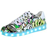 Led Light Up Shoes for Men Women USB Charging Flashing Luminous Graffiti Sneaker(#1 Color EU 38/7 B(M) US Women / 5 D(M) US Men)