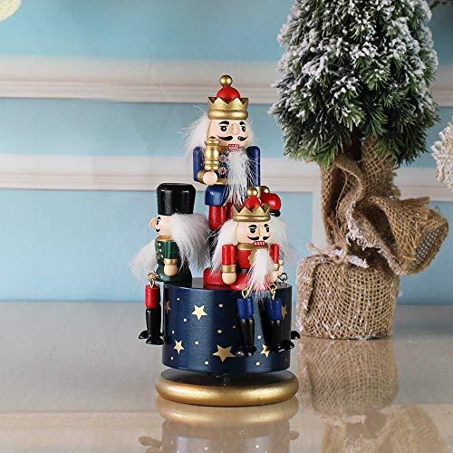Cajas Musicales Caja de Música Cascanueces de madera muñeca giratoria de la caja de música miniatura Figuras artesanal de marionetas Año Nuevo del vintage Adornos de Navidad Decoración Caja de Música