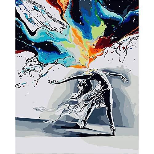 BAISITE Pintura por números para adultos, 16 pulgadas de ancho x 20 pulgadas de largo lienzo dibujo pintura con pinceles, pigmento acrílico para principiantes bailando niña 3315