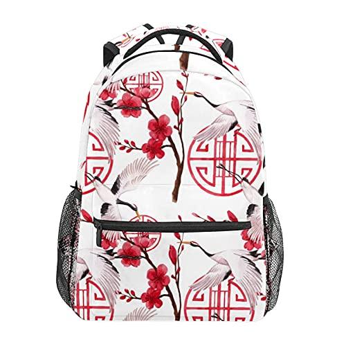 Tradizionale taglio di carta bianco gru zaino scuola college viaggio escursionismo moda laptop zaino per donne uomini adolescenti casual borse di tela