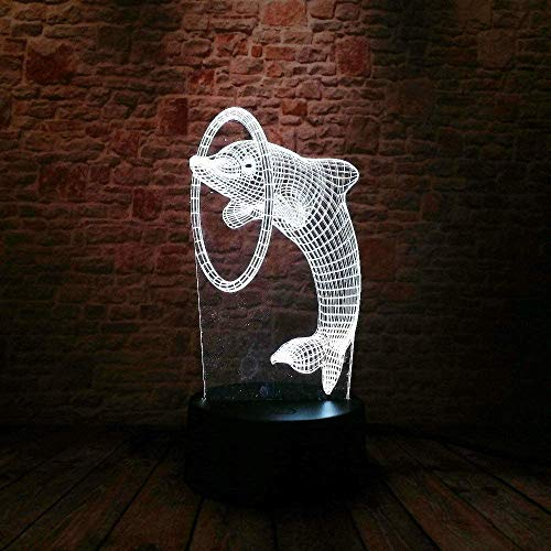 3D LED nachtlampje Mooie Dolphin piercing 7 kleuren illusie kinderen Jongen slaapkamer decoratieve lamp kind kerstfeest verjaardagsgeschenk