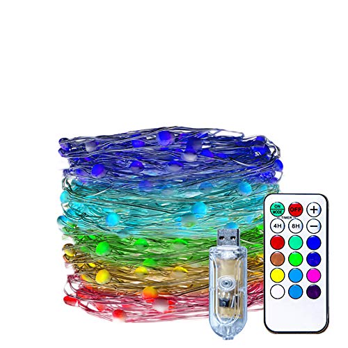 Colorful Elves Fairy String Lights,Christmas Lights with 12 Modes Theme USB Powered 33ft 100Led Twinkle Lights/Cooper/Christmas Light String…