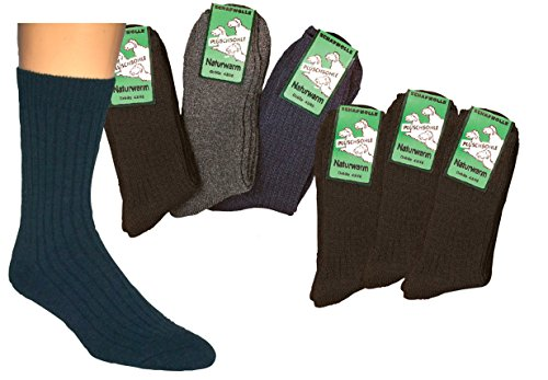 socksPur Plüschsohle-Socken mit Schafwolle 3-er PACK (Gr. 39-42,Farbe: schwarz)