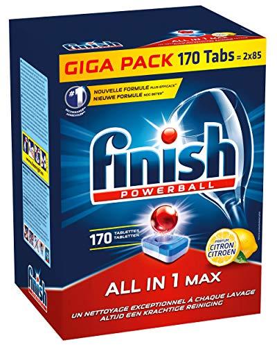 Finish All in 1 Max Lemon, Vaatwastabletten met Powerball, Voor Schone en Glanzende vaat, Citroen, Halfjaarpak, 170 Stuks