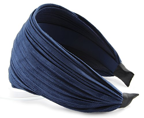 axy HR32 Haarreif Serie 32 Hair Band mit leichtem Flanell (Leder Optik) (Dunkelblau)