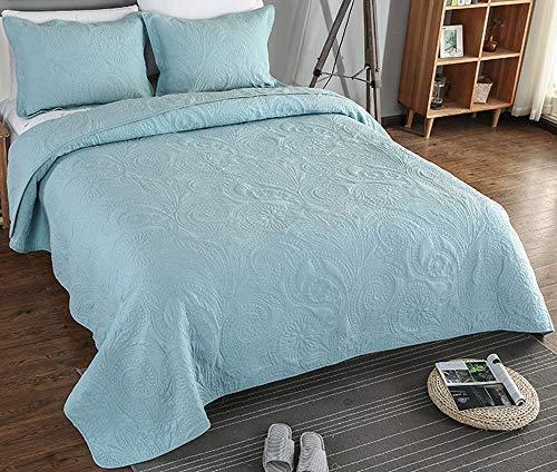 Tagesdecke Blau/Weiß/Grau Tagesdecke Bettüberwurf Premium Baumwolle Steppdecke,Gesteppt Decke Mit Kissenbezug, Für Doppelbetten Sofaüberwurf Bett,BlueA-240X260cm