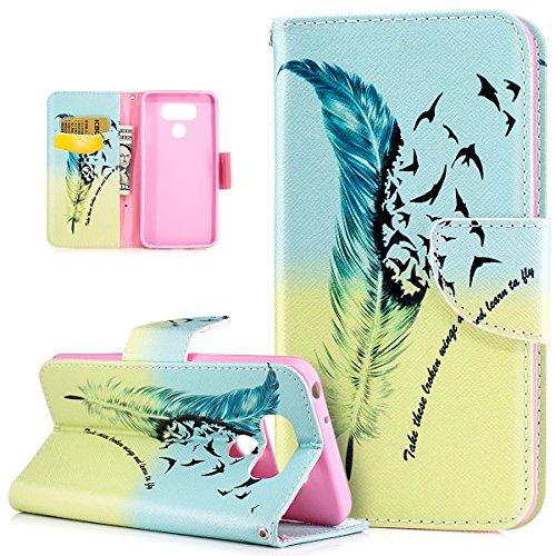 Coque LG G6,Etui LG G6,Coque LG G6 Etui,peint coloré Motif Etui Housse Cuir PU Portefeuille Folio Flip Case Cover Wallet Coque Étui Poches Case Coque Housse Étui pour LG G6 - Plume bleue oiseaux