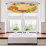 Aishare Store - Cenefa de cortina para ventana, productos de jardín de todo el año, seta y pimientos, zanahoria, puerro, vida sana, 132 cm de ancho x 45 cm de largo para ventana, cocina, multicolor