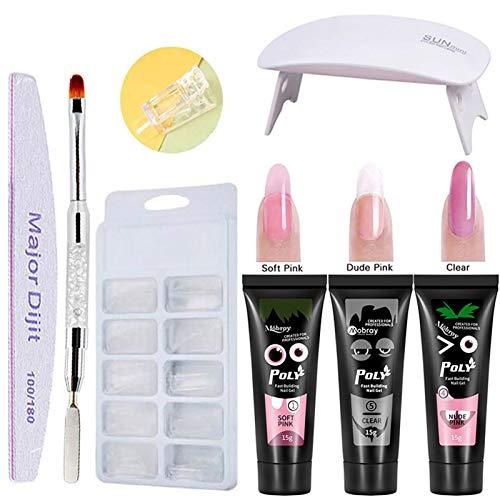 Abarich Set di Prolunghe per Unghie Poly Gel 3 Colori Attrezzi per Manicure ad Asciugatura Rapida Lampada per Unghie UV Stampi per Unghie