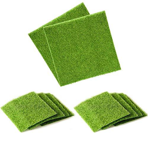 yyuezhi Kunstrasen Kunstmoos Moss Miniatur Garten Verzierung Simulation Gras Rasen DIY Garten Kreative Wohnaccessoires Hochwertiges künstliches Moos für Wedding Xmas Party Decor 15 * 15cm(10 Pcs)