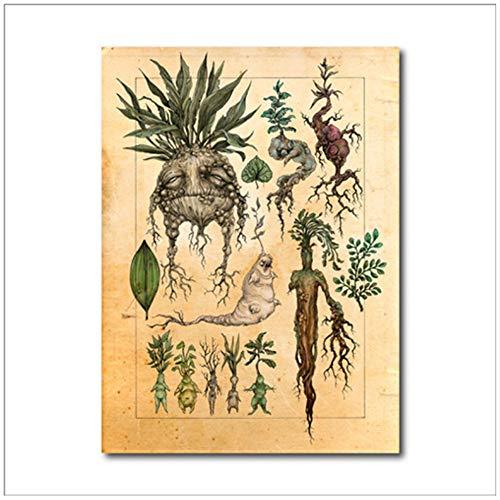 HSFFBHFBH Leinwand Malerei Kunstdekor Wandbild Niedliche Mandrake Pflanze Poster Drucken Kinderzimmer Dekorationen gemälde 50x70 cm (19,7