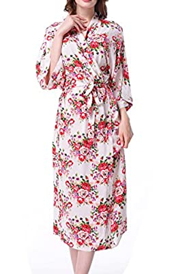 ALLINLOVER Women's Cotton Floral Kimono Robe Soft Breathable for Bridal Party,Sleepwear with Long Sleeves