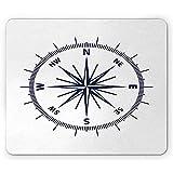 Maritime Mausunterlage,Monochromatisches Design Mit Windrose-Kompass-Abenteuer-Einfachem Grafikdruck,Rutschfestes Rechteckiges Gummi-Mousepad