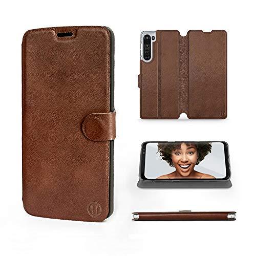 Mobiwear | Echt Lederhülle | Kompatibel mit Motorola Edge, Made in EU handyhülle, Slim Leather Hülle, Premium Flip Schutzhülle, Transparent TPU Silicon, Book Style, Tasche - Braunes Leder