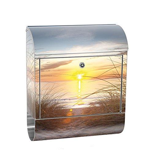 liwwing cassetta delle lettere in acciaio, con motivo e scomparto per giornali, giornali come XXL Design parete cassetta | spiaggia mare Baltico acqua cielo sole estivo | No. 0074