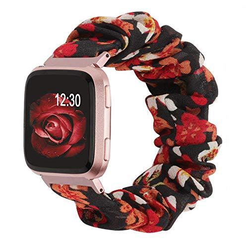 Ownaco Scrunchies Armband Kompatibel mit Fitbit Versa 2, Damen Freizeit Elastic Fabric Uhrenarmband Ersatzzubehör für Fitbit Versa (Klein,Schwarz Rot)