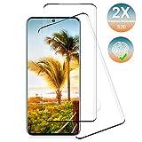 NONZERS Protector de Pantalla para Samsung Galaxy S20,[2 Piezas] Galaxy S20 Cristal Templado,Resistente a Arañazos y Golpes,Sin Burbujas,Trabajar con ID de Huella Digital