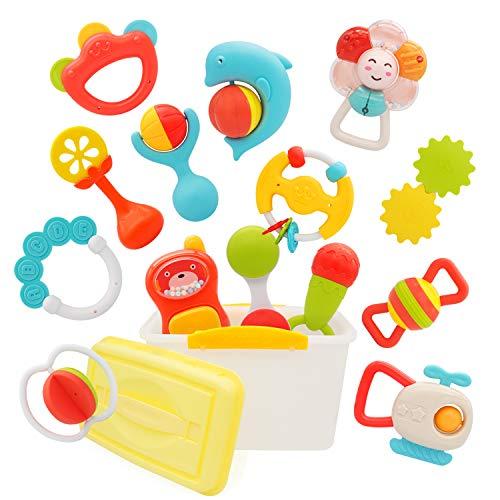 PEAINBOX Rassel Beißring Baby Spielzeug,Früherziehung Baby Spielzeug ab 0 3 6 9 12 Monate Jungen Mädchen Geschenke (15 Teiliges)