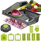 DUMAO 12 in 1 Vegetable Chopper, Multifunctional Mandoline Slicer Dicer Household Kitchen Manual Julienne Grater Cutter for Onion, Garlic, Carrot, Potato, Tomato, Fruit, Salad