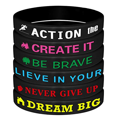 ASTARON 24Pcs Motivational Bracelets Inspirational Silicone Wristbands with Motivational Sayings for Men Women,Black