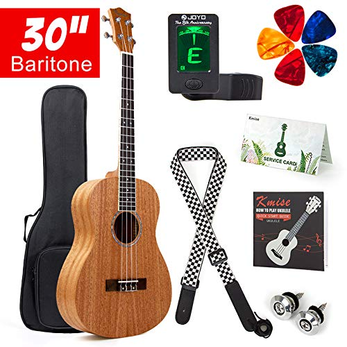 Kmise - Bariton-Bass-Ukulele, Starter-Set, Mahagoni-Ukulele, Ukulele, 76,2 cm, 4 Saiten, Hawaii-Gitarre mit Gigbag Tuner Gurt Plektren