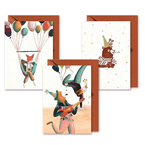 Set di Biglietti Auguri Compleanno - Disegnato In Esclusiva Da Studio De Beer - Carta Sostenibile Di...