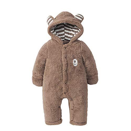 Jimmackey Neonato Maniche Lunghe Incappucciato Pagliaccetto, Bebè 3D Fumetto Orso Invernale Caldo Tutine Body