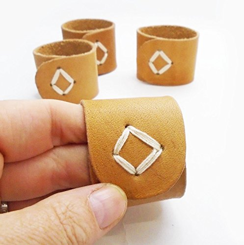 Rustic Natural Leather Napkin Rings Set