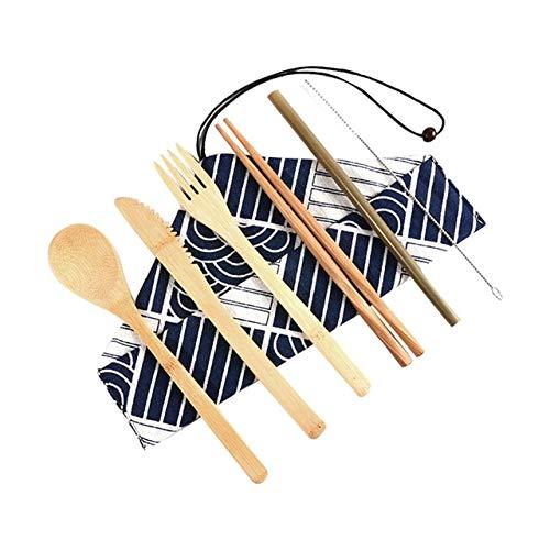 NC56 Juego De Cubiertos De Viaje De Bambú Ecológico De Madera Portátil Al Aire Libre Sin Residuos Juego De Cubiertos De Bambú Cuchara Tenedor Palillos Juegos De Cubiertos