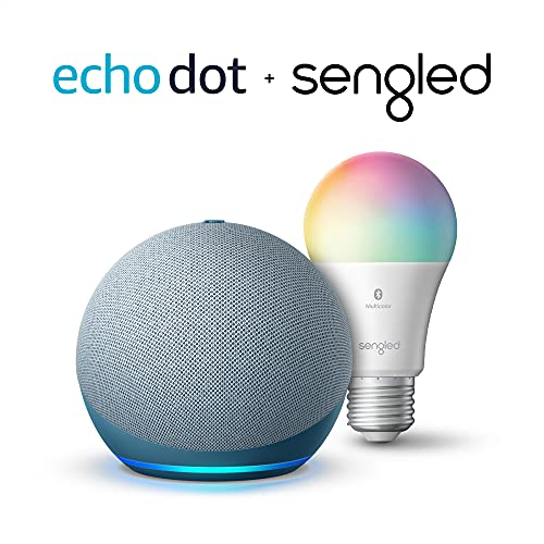【62% OFF】 - Echo Dot (4th Gen)   Smart speaker with Alexa   Twilight Blue with Sengled Bluetooth Color bulb