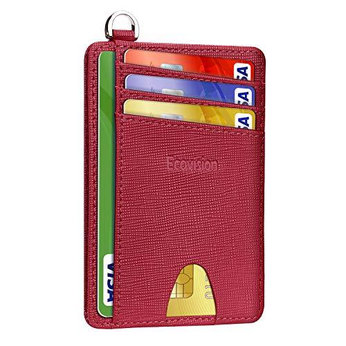 EcoVision - Custodia a portafoglio sottile con blocco RFID, tasca frontale minimalista per uomo e donna, 1 Saffiano Borgogna (viola) - EV-CW-LC-BL