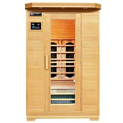 Artsauna Infrarotkabine Oslo mit Dual Heizsystem | 2 Personen Kabine aus Hemlock Holz | 120 x 100 cm | Infrarotsauna Infrarot Wärmekabine Saunakabine Sauna