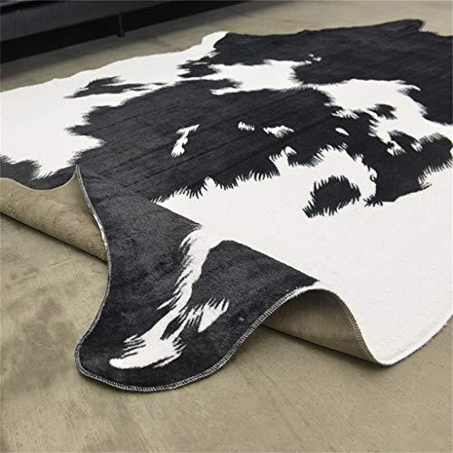 140x200cm (Estampado De Vaca) Alfombra Antideslizante Alfombra de Piel sintética imitación Piel de Vaca Negra y Blanca Lavable en la Lavadora Alfombra Animal para hogar y Oficina.